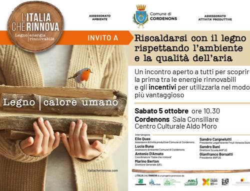 """5 ottobre 2019 – """"L'Italia che rinnova"""" partecipa all'evento sulle rinnovabili di Cordenons"""