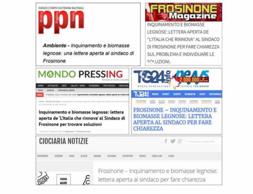 4 febbraio 2020 – L'Italia che rinnova invia una lettera aperta al sindaco di Frosinone, all'assessore all'ambiente e al presidente della Provincia, in risposta agli interventi sull'inquinamento cittadino dei giorni precedenti